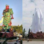 [Indonezja] Statua chińskiego bóstwa przykryta płótnem